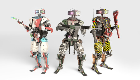 military robot , scientist robot and worker robot Stock fotó