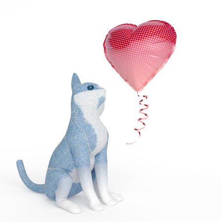 puppet cat watching inflatable balloon shaped as a heart