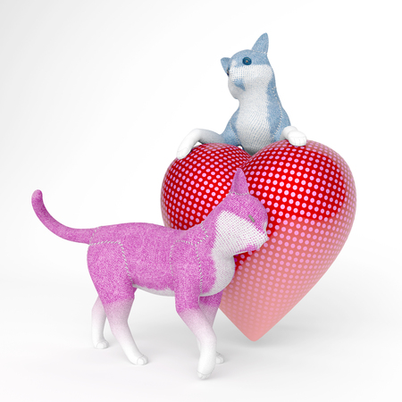 puppet cats in love with big heart Stock fotó - 126491508