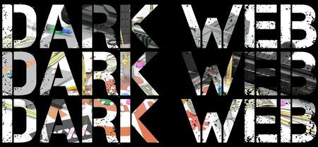 dark web word over illustration representing several activities of dark web Stock fotó