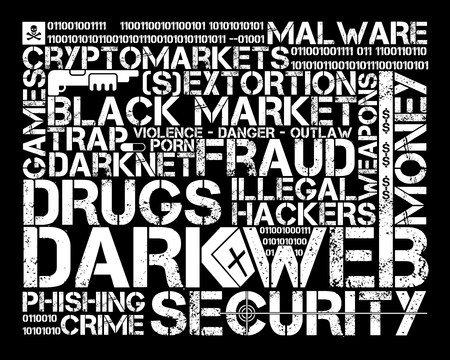 dark web tag cloud, white letters over black background