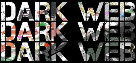 dark web word over illustration representing several activities of dark web Stock fotó - 126491518