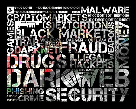 dark web tag cloud over illustration representing several activities of dark web Stock fotó - 126491521