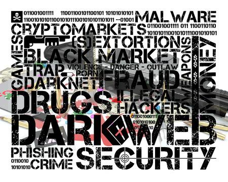 dark web tag cloud over illustration representing several activities of dark web