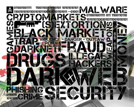 dark web tag cloud over illustration representing several activities of dark web Stock fotó - 126491402