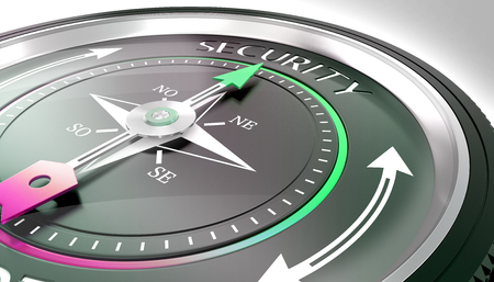 compass needle pointing security word
