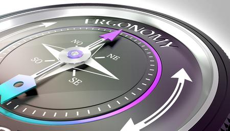 compass needle pointing ergonomy word Stock fotó