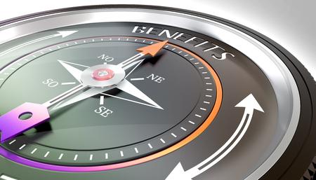 compass needle pointing benefits word Stock fotó - 126491410