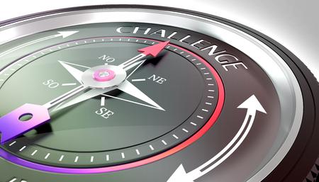 compass needle pointing challenge word Stock fotó - 126491413
