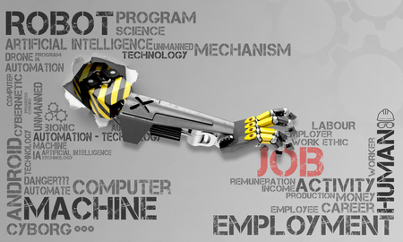 arm of a robot tearing apart the background with word cloud about jobs and robots to take