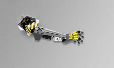 arm of a robot tearing apart the background