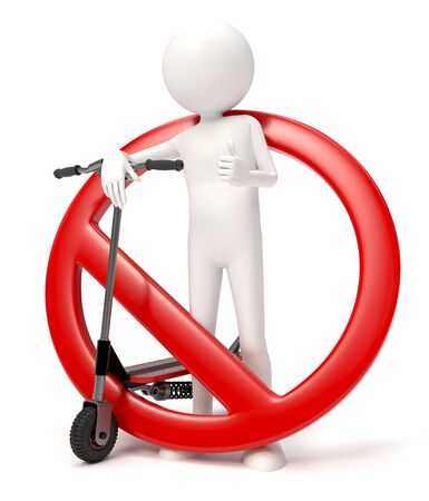 3D character with a scooter with forbidden sign over white background Stock fotó - 126491337