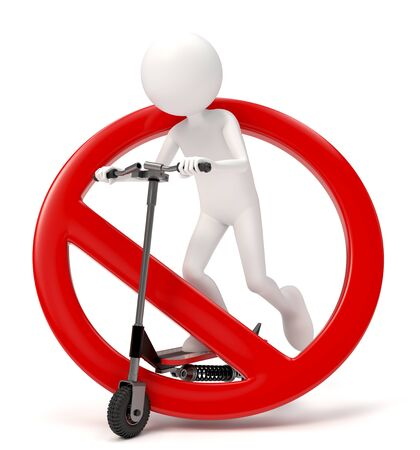 3D character riding a scooter with forbidden sign over white background Stock fotó