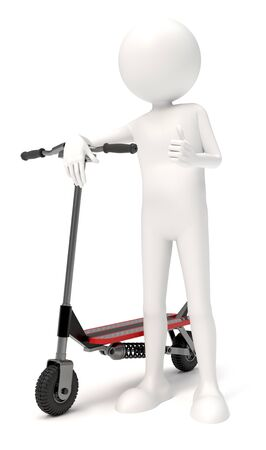 3D character with a scooter over white background