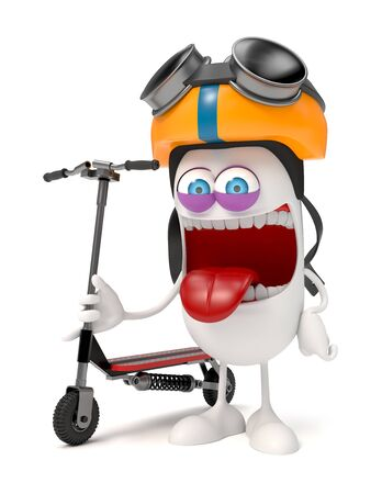 funny character with a scooter over white background Stock fotó