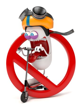 funny character riding a scooter with forbidden sign over white background