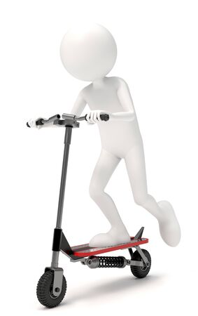 3D character riding a scooter over white background