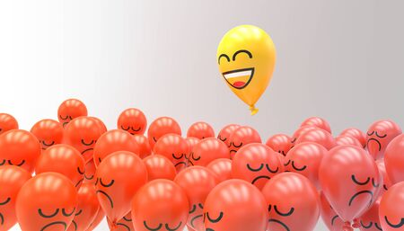 inflatable balloon with happy smiley face flying over balloon with sad face Stock fotó