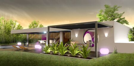 exterior view of a luxury modern villa with pool at sunset