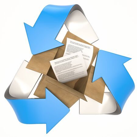 blue 3D recycling logo with cardboard and paper Stock fotó