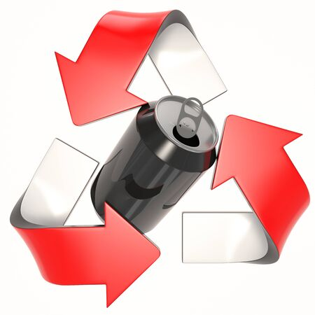 RED 3D recycling logo with can