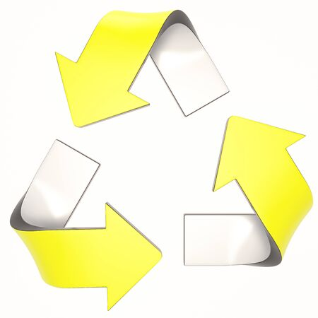 yellow 3D recycling logo