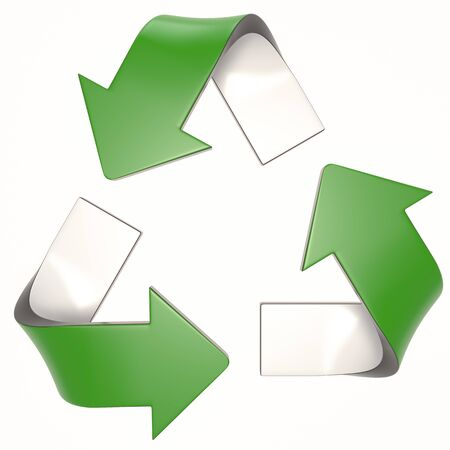 green 3D recycling logo Stock fotó - 132393484