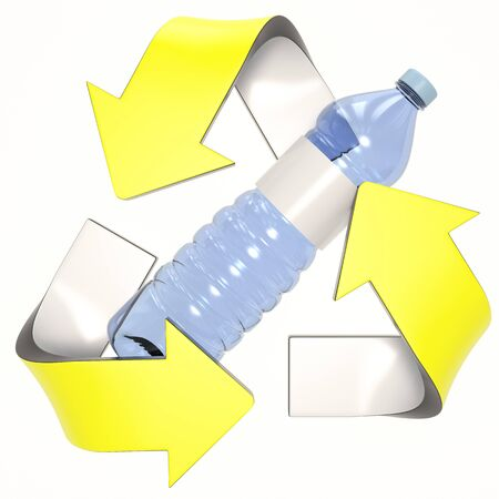 yellow 3D recycling logo with plastic bottle