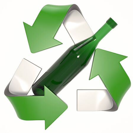 green 3D recycling logo with glass bottle Stock fotó