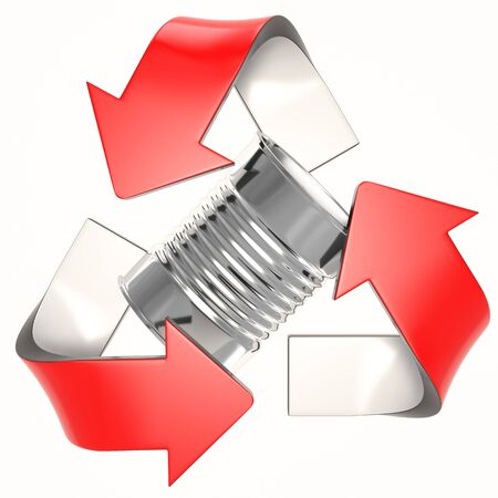 red 3D recycling logo with tin can
