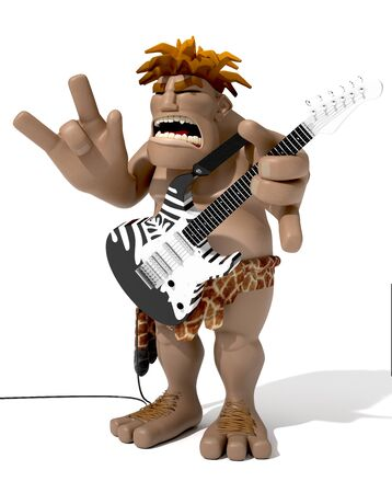 funny prehistoric man playing electric guitar over white background Stock fotó - 132200709