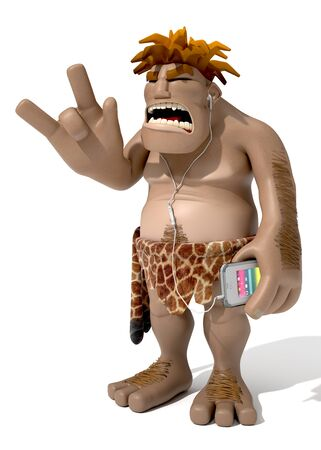 funny prehistoric man listening music with his cell phone over white background