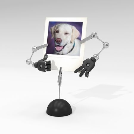 photo of a dog on picture clip holder with articulated arms clipped on it, making the dog blink an eye with thumb up. Stock fotó - 132393503