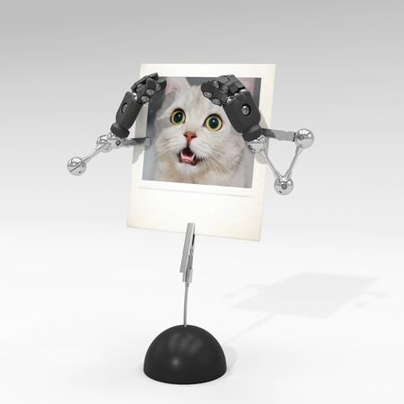 photo of a cat on picture clip holder with articulated arms clipped on it, giving the cat a scared attitude.