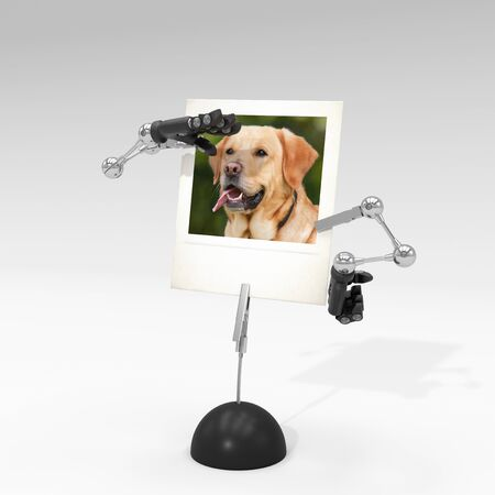 photo of a dog on picture clip holder with articulated arms clipped on it, making the dog looking from afar. Stock fotó