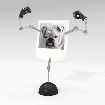 photo of a dog on picture clip holder with articulated arms clipped on it, making the dog shows his muscles.