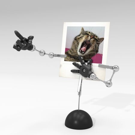 photo of a cat on picture clip holder with articulated arms clipped on it, making the cat laughing at something.