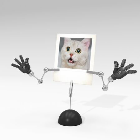 photo of a cat on picture clip holder with articulated arms clipped on it, giving the cat a surprised attitude. Stock fotó - 131810086