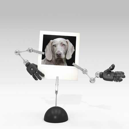 photo of a dog on picture clip holder with articulated arms clipped on it, giving the dog a welcoming attitude.