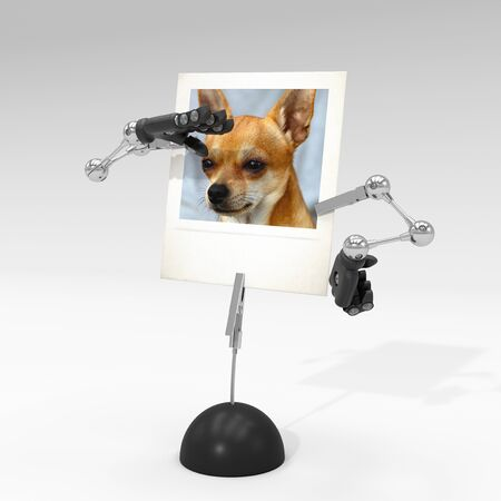 photo of a dog on picture clip holder with articulated arms clipped on it, making the dog looking from afar. Stock fotó - 131810474