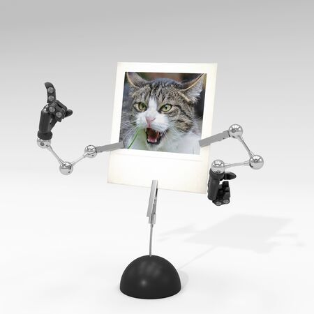 photo of a cat on picture clip holder with articulated arms clipped on it, giving the cat an angry attitude. Stock fotó - 131810954
