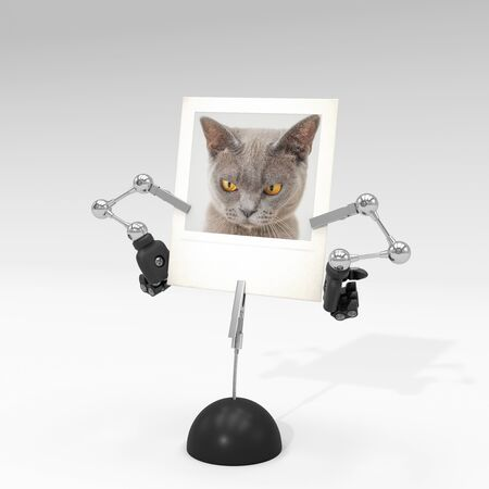 photo of a cat on picture clip holder with articulated arms clipped on it, giving the cat an angry attitude.