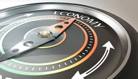 compass needle pointing economy word