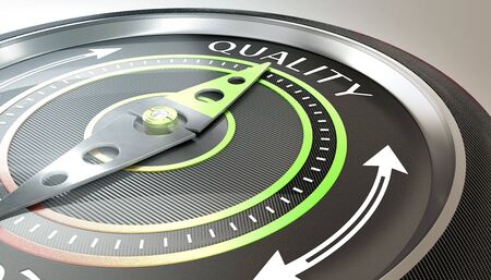 compass needle pointing quality word metal, brushed metal, high tech, quality, guidance, needle, direction, goal, achievement, progress, arrow, navigation, aim, black, cardinal points, accuracy, compa 写真素材