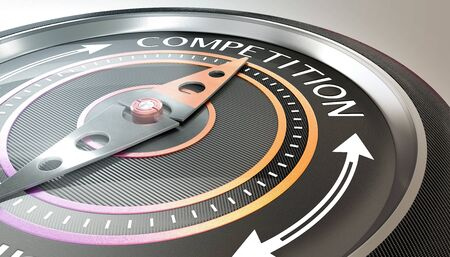 compass needle pointing competition word Stock fotó - 132310024