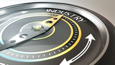 compass needle pointing industry word