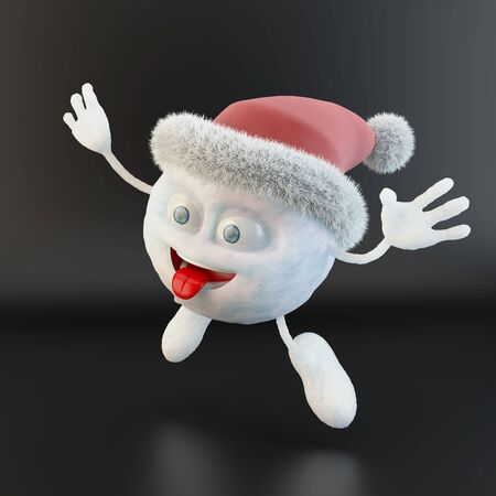 jumping snowball character with santa hat over black background