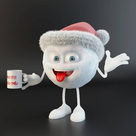 snowball character with merry christmas written on a mug over black background