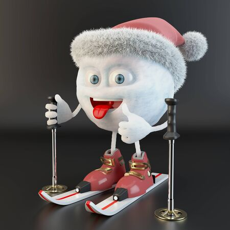 skiing snowball character with santa hat over black background Stock fotó
