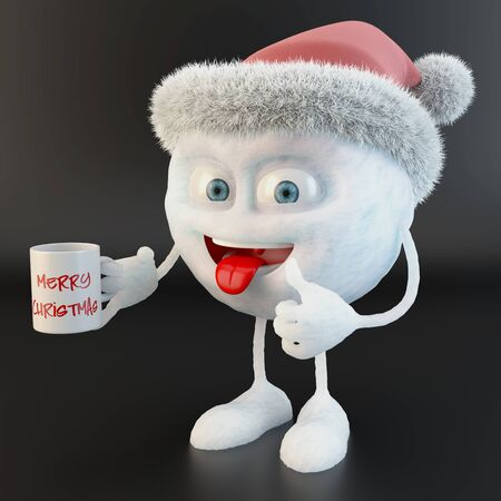 thumb up snowball character with merry christmas written on a mug over black background Stock fotó